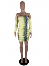 Off Shoulder Backless Snake Printed Long Sleeve Dress