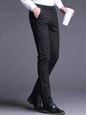 Formal Side Pockets Skinny Men Plaid Pants