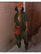 Fashion Turndown Neck Colorblock Patchwork Gray Jumpsuit