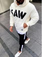 Easy Matching Letter Design Plush Hoodies For Men