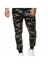Side Letter Camouflage Drawstring Jogger Pants