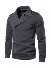 Solid Color Zipper Up Turndown Neck Outerwear
