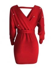 Beading Off Shoulder Low-cut Tie-wrap Dresses