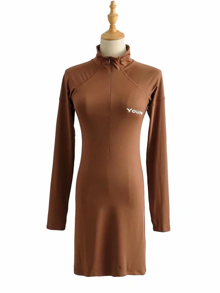 Mock Neck Solid Long Sleeve Short Dress