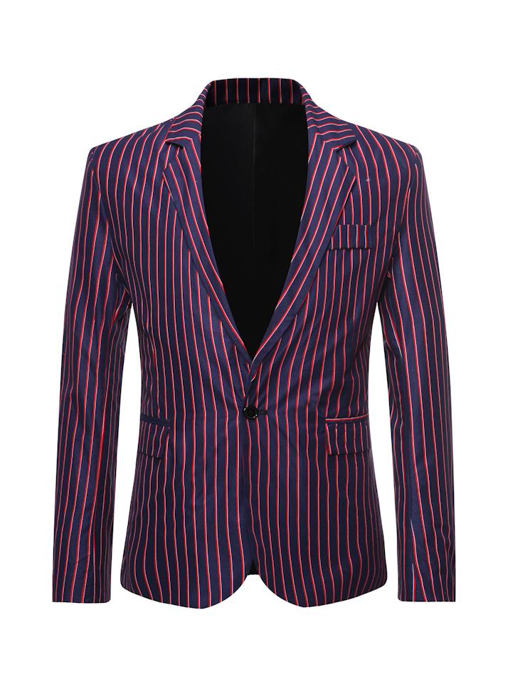 OL Style Striped Winter Blazer Coat