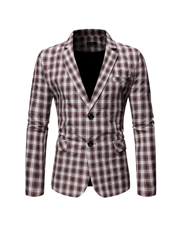 Trendy Two Button Long Sleeve Plaid Blazer