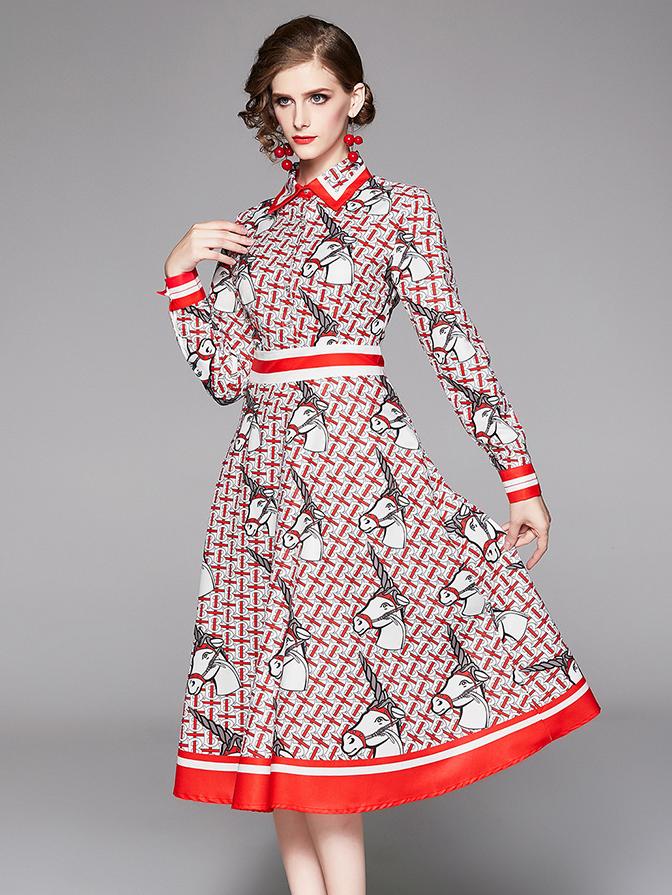 Ol Style Unicorn Printed Midi Shirt Dress