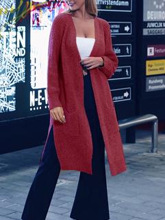 Knitting Solid Thin Split Long Cardigan
