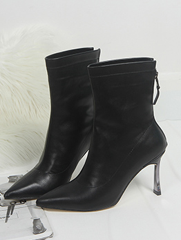 PU Solid Stiletto Black Ankle Boots
