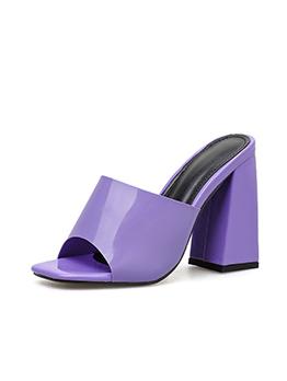 Sweat Color Peep Toe Chunky Heel Slippers
