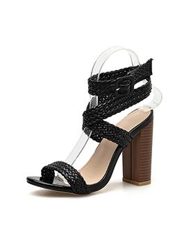 Black Woven Belt Chunky Heel Laides Sandal
