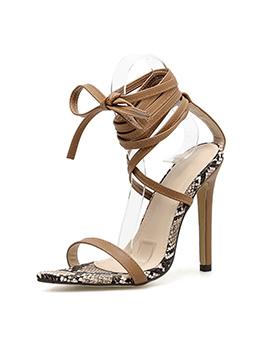 Snake Printed Lace Up Heel Sandal