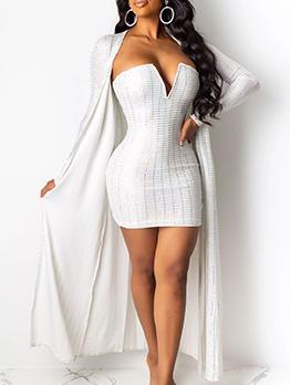 Deep V Neck Strapless White Two Piece Dress