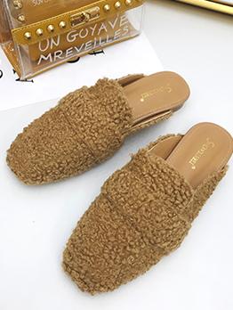 Fur Solid Women Mules Shoes