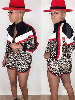Contrast Color Leopard Ptinted Women's Pant Suits