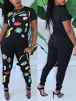 Printed Black Ladies Trouser Suits