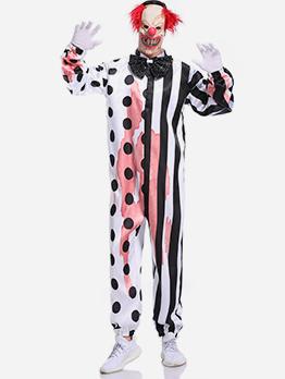 Polka Dot Striped Jumpsuit Halloween Joker Costume