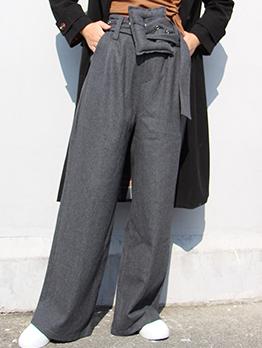 High Waist Big Belt Woolen Wide Leg Pants