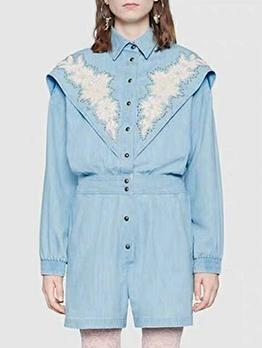 Boutique Patchwork Embroidery Long Sleeve Denim Jumpsuit