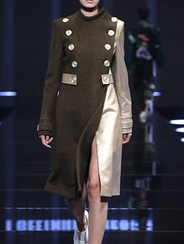 Boutique Contrast Color Stand Collar Button Decor Patchwork Long Coats