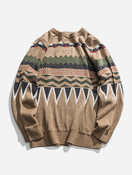 Vintage Ethnic Pattern Men Sweater