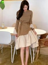 Contrast Color Tie-Wrap Long Sleeve Dress