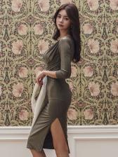 Elegant V Neck Draped Long Sleeve Bodycon Dress