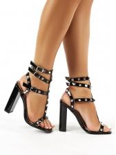 Rivet Ankle Straps Chunky Heel Ladies Sandal