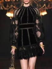 Stand Neck Lace Panel Boutique Black Dress