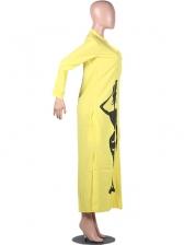 V Neck Printed Split Long Sleeve Shirt Dress