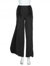 Lace Up Black Cotton Split Wide Leg Pants