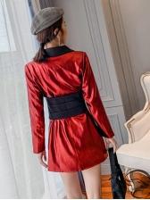 Lapel Collar Long Sleeve Patchwork Long Casual Blazer