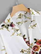 V Neck Flounce Hem Flowers Printed Ladies Blouse