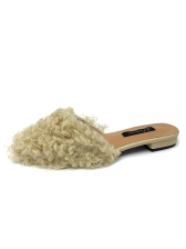 Curly Fur Solid Womens Mules Slippers