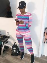 Sport Style Multicolored Striped 2 Piece Pants Set