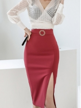 V Neck Lightweight Blouse With Split Half Pencil Skirt