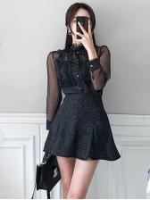 Agaric Laces Mesh Patchwork Black 2 Piece Skirt Set