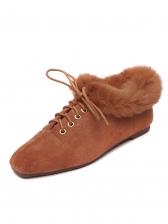 Fur Lace UP Square Toe Womens Flats