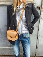 Autumn Minimalist Solid Color Woolen Coat For Women