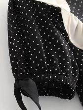 Deep V Neck Polka Dot Short Sleeve A-Line Dress
