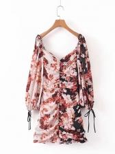Puff Sleeve Floral Long Sleeve Mini Dress
