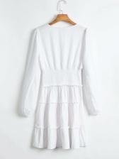 Square Neck Elastic Waist White Long Sleeve Dress