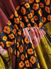 Crew Neck Contrast Color Floral Ladies Dress