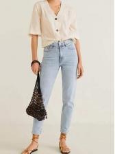 Simple Style Mid Waist Skinny Ninth Jeans