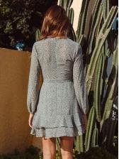 Euro V Neck Dots Long Sleeve Chiffon Dress