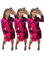 Contrast Color Letter Printed Long Sleeve Shirt Dress