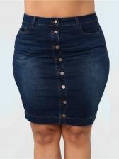 Plus Size Single Breasted Slim Women Denim Skirt