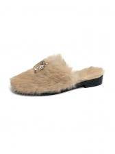 Rhinestone Fur Winter Mules Slipper