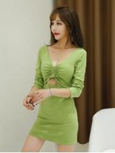 V Neck Solid Drawstring Long Sleeve Dress