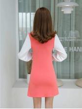 Contrast Color Long Sleeve Shirt Dress